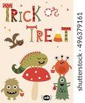halloween little monsters. | Shutterstock .eps vector #496379161