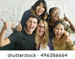 diversity students friends... | Shutterstock . vector #496386664