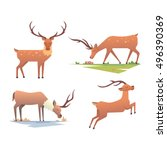 cute deer cartoon comic wild... | Shutterstock .eps vector #496390369