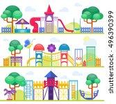 children playground fun...   Shutterstock .eps vector #496390399
