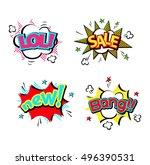 pop art comic speech bubble... | Shutterstock .eps vector #496390531