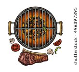 Barbecue Grill Top View With...