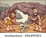 cartoon cavemen looking at a... | Shutterstock .eps vector #496399351