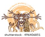 engraving art of a wicca horned ... | Shutterstock .eps vector #496406851