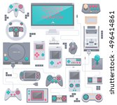 game icons. flat style vector... | Shutterstock .eps vector #496414861