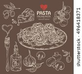 collection of pasta and... | Shutterstock .eps vector #496418371