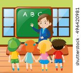 teacher teaching in classroom... | Shutterstock .eps vector #496420981