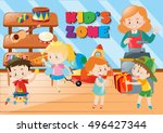 students buying things in shop... | Shutterstock .eps vector #496427344