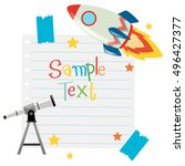paper template with telescope... | Shutterstock .eps vector #496427377