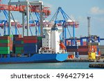 container stack and ship under... | Shutterstock . vector #496427914