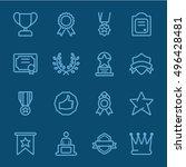 award blue line icon | Shutterstock .eps vector #496428481