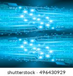 circuit board. future... | Shutterstock .eps vector #496430929