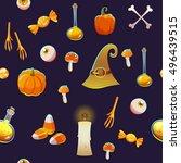 seamless halloween pattern....   Shutterstock .eps vector #496439515