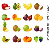illustration with ripe fruits... | Shutterstock . vector #496441324