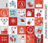christmas advent calendar with...   Shutterstock .eps vector #496441687