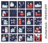 christmas advent calendar with... | Shutterstock .eps vector #496441699