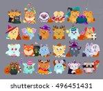 happy halloween stickers flat... | Shutterstock .eps vector #496451431