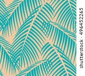 palm leaves pattern seamless... | Shutterstock .eps vector #496452265
