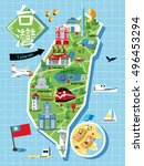 taiwan travel map  with chinese ... | Shutterstock . vector #496453294