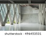 empty modern loft with concrete ... | Shutterstock . vector #496453531