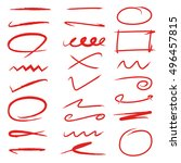 marker elements  red underlines ...   Shutterstock .eps vector #496457815