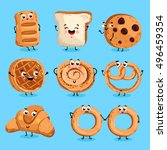 cartoon funny bakery characters ... | Shutterstock .eps vector #496459354