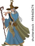 fantasy style wizard with staff | Shutterstock .eps vector #496460674