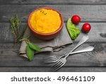 corn porridge polenta  hominy ...   Shutterstock . vector #496461109