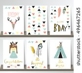 card template collection for... | Shutterstock .eps vector #496467265