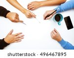 group of people sits at the... | Shutterstock . vector #496467895
