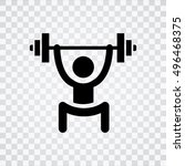 lifting weights icon | Shutterstock .eps vector #496468375