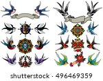 Stock vector traditional tattooing style swallows set birds sparrows drawing collection tattoo ink old school 496469359