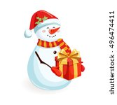 Snowman With Gift Box. Cartoon...