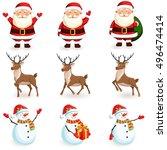christmas reindeer  santa ... | Shutterstock .eps vector #496474414