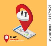 social media flat 3d isometric...   Shutterstock .eps vector #496474609