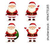santa claus set. cartoon...   Shutterstock .eps vector #496475185