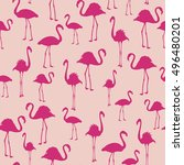 flamingo exotic birds seamless... | Shutterstock .eps vector #496480201