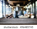 empty wooden table space... | Shutterstock . vector #496485745