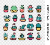 set of fashion patch badges... | Shutterstock .eps vector #496486885