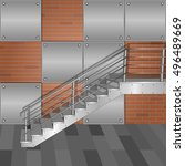 Metal Stairs On A Red Brick...