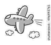 hand drawn vector plane | Shutterstock .eps vector #496493761