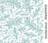 medicinal plants seamless... | Shutterstock .eps vector #496494955