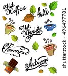autumn pattern  tea pattern ... | Shutterstock . vector #496497781