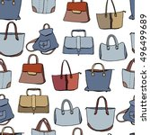 seamless pattern with woman... | Shutterstock .eps vector #496499689