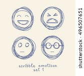 vector set of emoticons and... | Shutterstock .eps vector #496507651