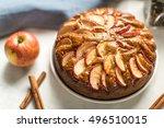 homemade apple pie with cinnamon   Shutterstock . vector #496510015