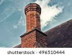 back of a chimney with blue... | Shutterstock . vector #496510444