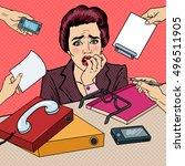pop art nervous business woman... | Shutterstock .eps vector #496511905