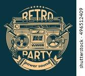 retro party emblem | Shutterstock .eps vector #496512409