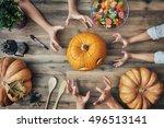 happy halloween  a mother ... | Shutterstock . vector #496513141